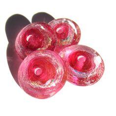 Handmade Lampwork Glass Beads dichroic transparent pink sparkly disks