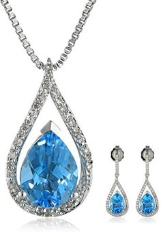 Lovely... Sterling Silver Swiss Blue Topaz and Diamond (1/4cttw, I-J Color, I2-I3 Clarity) Drop Earrings and Pendant Necklace Jewelry Set Amazon Curated Collection -$235- http://www.amazon.com/gp/product/B00NBUHTR8/ref=as_li_tl?ie=UTF8&camp=1789&creative=390957&creativeASIN=B00NBUHTR8&linkCode=as2&tag=yvento0e-20&linkId=UFCEZSJNSYVIHYDL