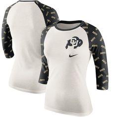 Colorado Buffaloes Women's Veer Pattern Tri-Blend 3/4-Sleeve Raglan T-Shirt - Cream/Black - $35.99