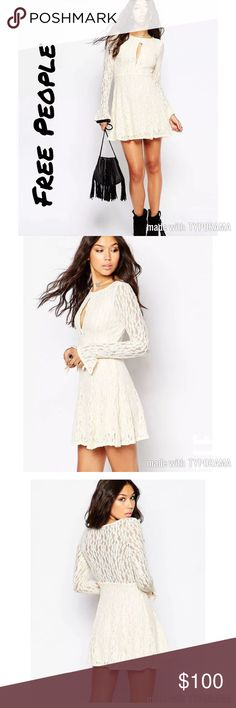 NWT Free People teen witch Lace shearling dress Delicate lace overlay offers an upscale look while maintaining a retro-inspired appeal. Boat neckline with sultry keyhole cutout at chest. Sheer long sleeves with bell cuffs. Sheer back panel. Color is Beige Free People Dresses Mini