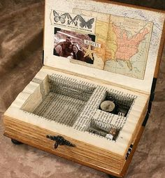 Altered Book Music Box. Vintage books.  What to do with old books.  Hard cover.  DIY.  Repurposed books.