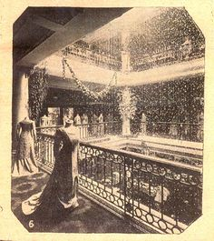 The original Selfridges light well, dripping with crystals in 1909.