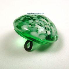 Antique Paperweight Glass Button White Flecks Over Green Design Swirl…