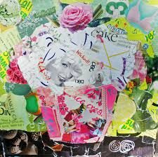 10 torn paper collage on wrapped canvas, a daily work of art from my New Mexico studio, using magazine pages, advertisements, and variou. Paris Hilton, Cupcake Crafts, Cupcake Art, Mixed Media Collage, Collage Art, Collages, Collage Ideas, Art Ideas, Magazine Collage