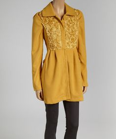Another great find on #zulily! Mustard Plush Rosette Coat by A'reve #zulilyfinds