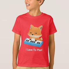 #Cute Little Fox I Love to Play Piano Kids Tee - #giftideas for #kids #babies #children #gifts #giftidea