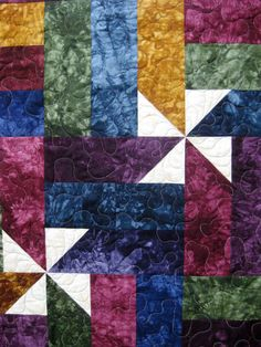 Jewel Tone Patchwork Wall Hanging Lap Quilt Hand