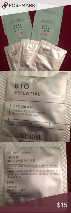 Sunscreen and Eye cream Bio essential I cream instance of care of advanced rose leaf technology all skin types VPROVE three samples and daily perfect son essence city stay sun SPF PA 50+ VPROVE VPROVE Makeup Luminizer