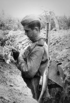 Soviet signalman petting a kitten on the breastwork trenches.