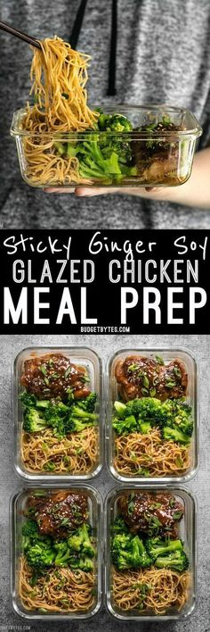 Sticky Ginger Soy Glazed Chicken Meal Prep Salty, sweet, and rich. - Sticky Ginger Soy Glazed Chicken Meal Prep Salty, sweet, and rich flavors dominate t - Meal Prep Plans, Easy Meal Prep, Healthy Meal Prep, Healthy Eating, Food Prep, Clean Eating, Healthy Lunch Meals, Weekly Lunch Meal Prep, Healthy Chicken Meals