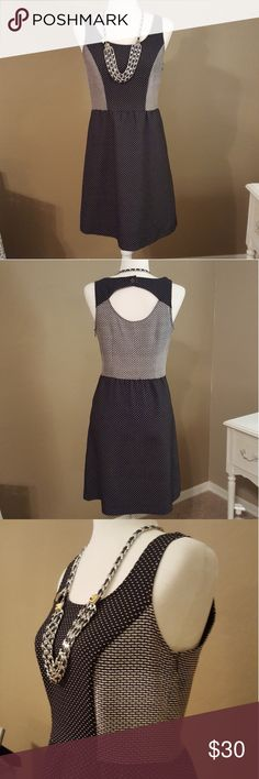 The Limited Black/White Dot & Check Dress Great condition! Black. And check color blocked. Sleeveless. Hidden Side zipper. Slip pockets on both sides. Keyhole back. Rebecca Minkoff Necklace available in my Closet! The Limited Dresses