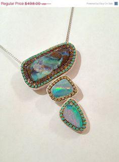 SUMMER SALE Stunning multi Opal and by YaronaJewelryDesign on Etsy, $448.20