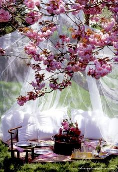 So lovely...what a romantic picnic idea!  *I love the gauzy, flowy look..maybe for kids area or something special