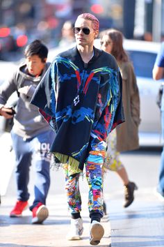 Jared Leto's outfits make you feel like you're on mushrooms. Then add in the fact that he's so handsome, and it's more like acid.