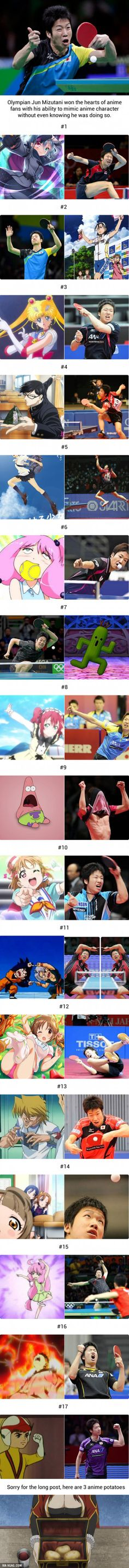 17 Times Japanese Olympian Jun Mizutani Poses As Anime Characters Without Even Knowing It
