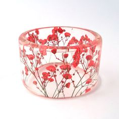 Red Botanical Resin Bangle. Chunky Bangle with Pressed Flowers. Real Flowers - Red Baby's Breath. | by SpottedDogAsheville | on Etsy
