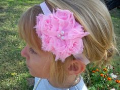 pink cluster tulle hair bow