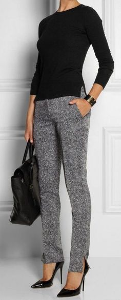 #winter #outfits / Black Long Sleeve - Grey Casual Pants