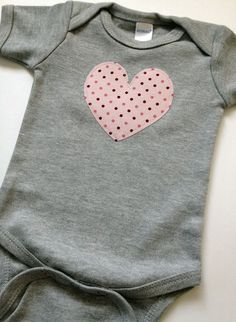 Newborn Baby Girl Clothes // Heart Bodysuit // Size 0-3 Months // Gray and Pink Valentine's Day Clothing. $11.00, via Etsy.