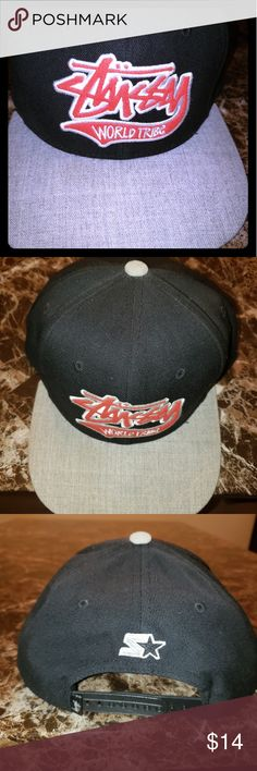 f2bf59aa1dd Stussy Snapback Hat Stussy World Tribe Snapback fitted hat by Starter.  Black  Grey