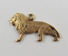 Lion 10K Gold Vintage Charm For Bracelet by SilverHillz on Etsy