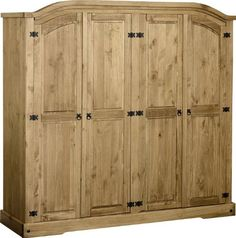 Corona 4 Door Wardrobe - With Shelfs & Hanging Space Mexican Solid Pine