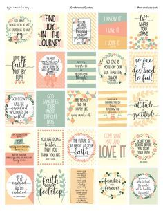 Printable Planner Stickers General Conference Quotes The Church of Jesus Christ of Latter Day Saints Relief Society Mom Life Bullet Journal Free Printable Quotes, Printable Planner Stickers, Journal Stickers, Scrapbook Stickers, Printables, Journaling, Planner Bullet Journal, General Conference Quotes, Now Quotes