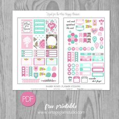 Free Printable Shabby Roses Planner Stickers from Vintage Glam Studio