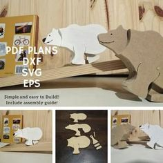 Bear Ramp Walker Toy Patterns and Vectors For Scroll Saw and | Etsy Scroll Saw Patterns, Pdf Patterns, Animal Puzzle, Cnc Machine, Wood Toys, Build Your Own, Stuffed Toys Patterns, Digital Pattern, Have Fun