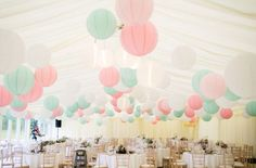 Mint and pinks wedding lanterns
