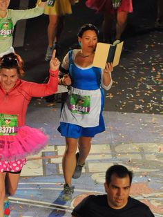 This finish line photo deserves it's own pin :) // Belle costume // Beauty and the Beast // runDisney // Walt Disney World 5K 2014 // Dopey Challenge // Running Costume
