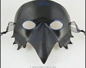 Raven or Crow leather mask black bird handmade masquerade costume
