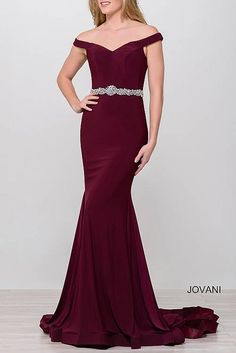 Royal Off the Shoulder Jersey Mermaid Prom Dress 49254