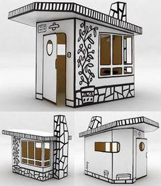 Magis cardboard playhouse, villa julia, designed by Spanish designer, Javier Mariscal. Cardboard Box Houses, Cardboard City, Cardboard Playhouse, Cardboard Paper, Cardboard Furniture, Paper Houses, Cardboard Crafts, Vitrine Design, Cardboard Fireplace