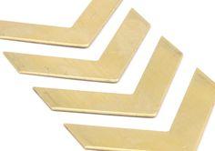 12 Raw Brass Chevron Blanks 40x10x0.80mm A0859N612