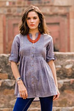 India Blue Cotton Chambray Button Front Pleated Top - Everyday Chic | NOVICA
