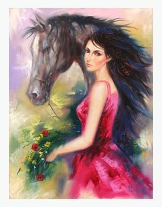 Original oil on canvas by the artist Taras Sidan. Beautiful expressionism painting 'Lady of the West' with a certificate of authenticity from the publisher.