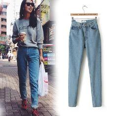 Бесплатная доставка 2016 новый тонкий карандаш брюки старинные высокая талия джинсы женские брюки полная длина брюки широкий ковбойские штаны C1332