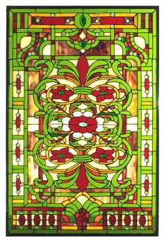 22.5 Inch W X 33.10 Inch H Estate Floral Stained Glass Window - 22.5 Inch W X 33.10 Inch H Estate Floral Stained Glass WindowSapphire jewels accent this regal window featuring anintricate pattern of Burgundy flowers with Kelly Green,Honey Gold and Beige. Handcrafted utilizing the copper foil construction process and stained art glassencased in a solid brass frame, the Tiffany style window also comes with a solid brass hanging chain andbrackets. Theme: VICTORIAN TIFFANY NOUVEAU COUNTRY…