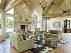 Traditional Living Room Design - pale green and dark brown work really well with neutral walls and lots of natural light