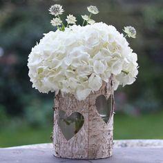 wooden birch bark vase or lantern by the wedding of my dreams | notonthehighstreet.com