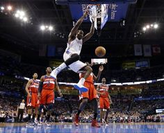 Oklahoma Citys Kendrick Perkins (5) dunks the ball during an NBA basketball game between the Oklahoma City Thunder and the Washington Wizards at Chesapeake Energy Arena in Oklahoma City, Wednesday, March 19, 2013. Photo by Bryan Terry, The Oklahoman