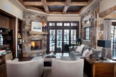 Corner Fireplace Mantels Family Room Rustic with Area Rug Black Lampshades