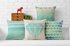 Blue and green Blue Mint Square Cross geometry Pillow cushion cover polyester PillowCase office Home Decorative sofa cushions-in Cushion from Home & Garden on Aliexpress.com | Alibaba Group
