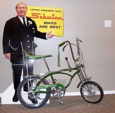 Captain Kangaroo says Schwinn bikes are best! Bmx, Old Bicycle, Old Bikes, Vintage Advertisements, Vintage Ads, Velo Retro, Captain Kangaroo, Drag Bike, Chopper Bike