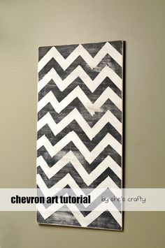 She's crafty: Chevron wall art...I'd like to use this method on pictures frames, mirrors etc... The 1.99 squar mirrors at Ikea would look great painted with this design