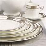 Aynsley China Empress White & Platinum 5Pc Place Setting Place Settings, China, Plates, Tableware, Licence Plates, Plate, Dinnerware, Dishes, Dish