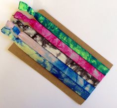 Tie Dye Elastic Headbands Blues Pinks Greens Yellow Black and White on Etsy, $11.75