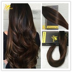 Balayage Remy Ombre Brown Blonde Seamless Tape in Human Hair Extensions Straight #Ugea #StraightBundle