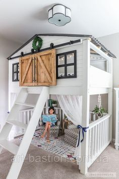How To Build A DIY Sliding Barn Door Loft Bed Full Size Adorable kids room with amazing loft bed with sliding barn doors! The post How To Build A DIY Sliding Barn Door Loft Bed Full Size appeared first on Welcome! Diy Sliding Barn Door, Barn Doors, Diy Door, Sliding Doors, Attic Doors, Wood Doors, Girl Bedroom Designs, Kids Room Design, Awesome Bedrooms